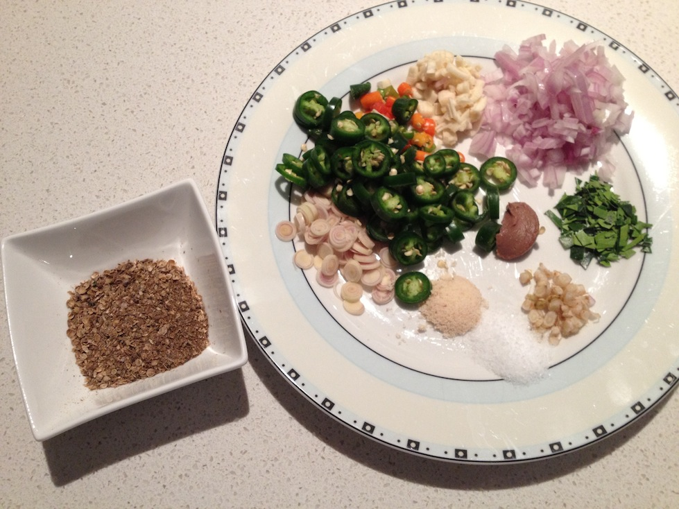 Thai Green Curry Paste mise en place